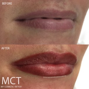 Before & After Lip Blend Tattoo by Atena Leon