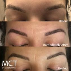 Eyebrow 3D tattoo progression