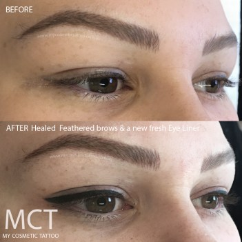 Correction of another technicians liner. Before & After by Atena Leon
