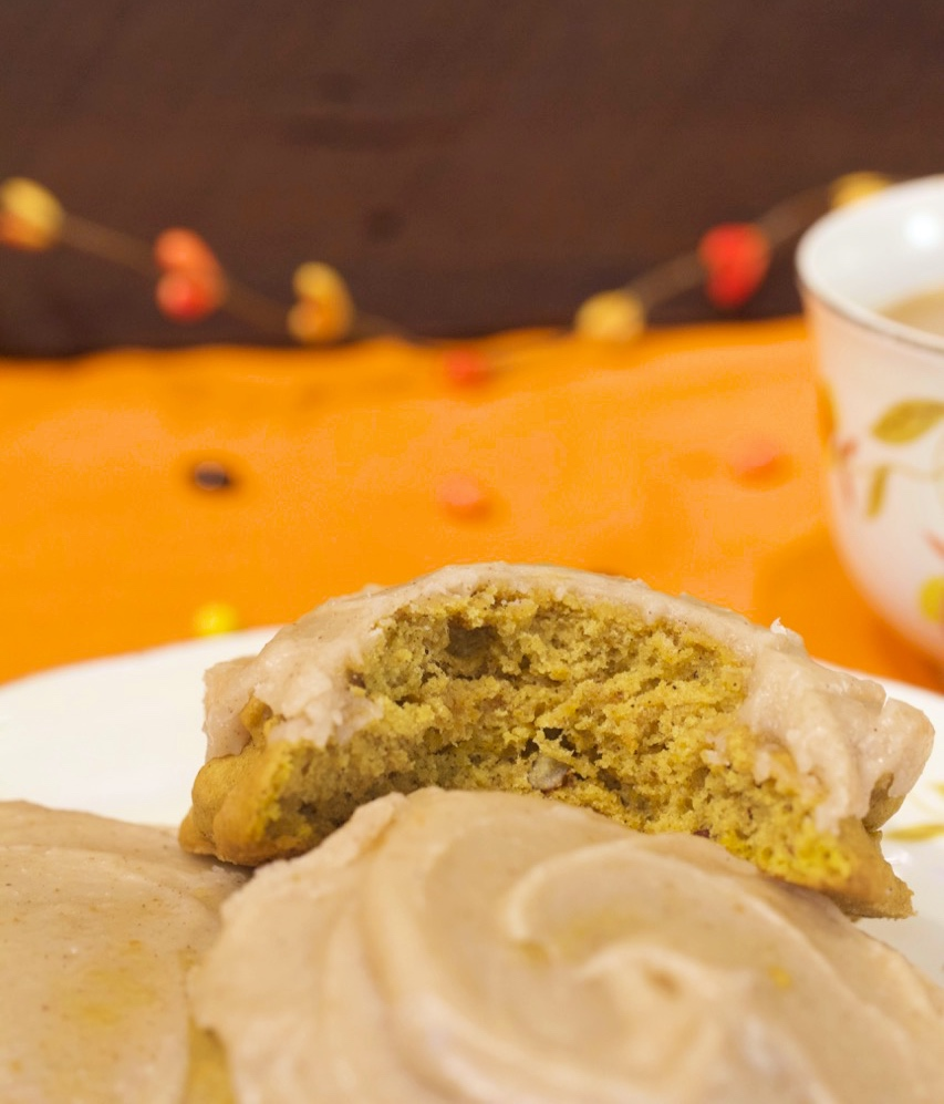 Pumpkin Pecan Cookies with Brown Butter Cinnamon Icing