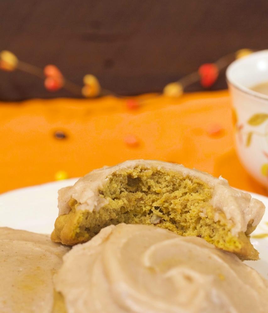 Pumpkin Pecan Cookies with Brown Butter Cinnamon Icing