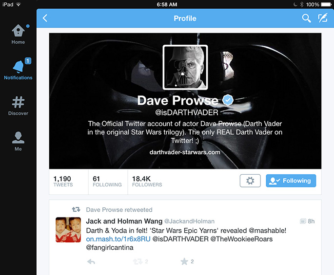 20141124 - Star Wars Epic Yarns - Retweet by David Prowse