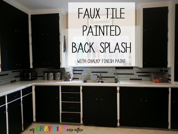 Faux Tile Painted Backsplash Using Chalky Finish Paint My Craftily Ever After