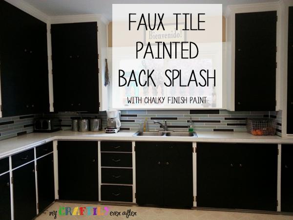 Faux Tile Painted Backsplash Using Chalky Finish Paint