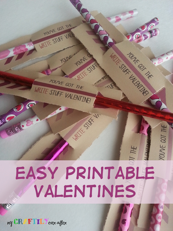 Easy 1 Printable Pencil Valentines My Craftily Ever After