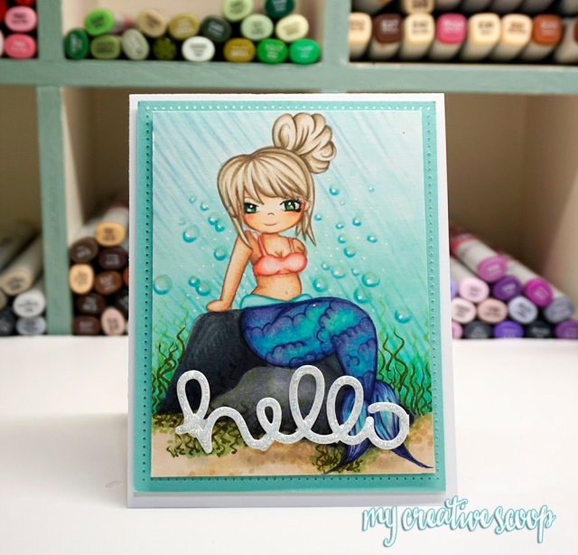 Coloring an underwater scene using Copic Markers + FREE Digi Stamp - Milly the Mermaid
