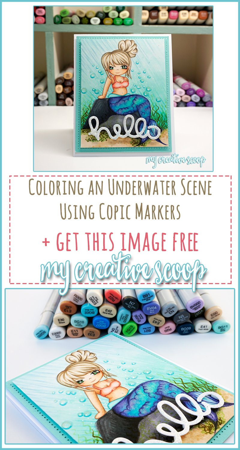 Coloring an underwater scene using Copic Markers + FREE Digi Stamp - Pinterest