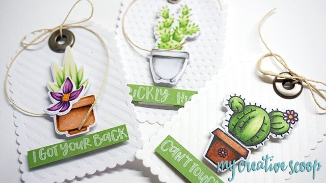 Honey Bee Stamps Cactus Tag - Go Green Copic Marker Color Combo