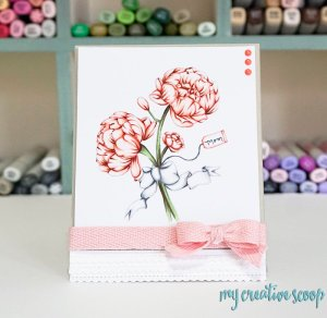 Coloring Peonies – Copic Marker Tutorial + FREE Digi Stamp