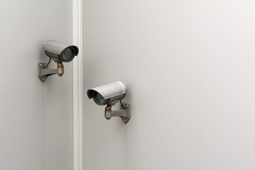 2 CCTV cameras on adjacent walls