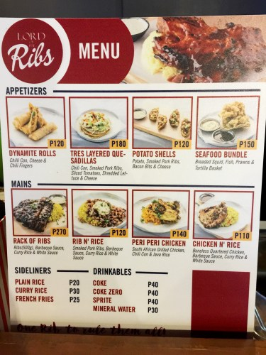 Lord of the Ribs Davao Menu. Image by Gem Tadefa of PagesFlipper.com.