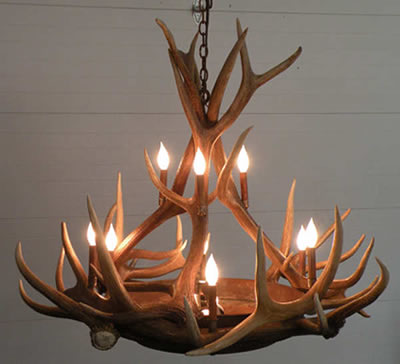 This Chandelier From The Peak Antler Company Provides A Beautiful Amber Glow Through Mica Tiers