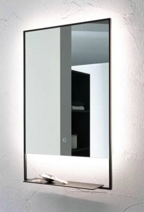 Specchiera Castore con telaio nero opaco e mensola incorporata, illuminazione perimetrale led, interruttore touch on/off. L 50 x P 4.2 x A 80 cm