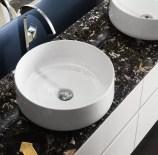 Lavabo Cognac 42 in ceramica, bianco lucido, senza troppopieno. L 42 x P 42 x A 16.5 cm