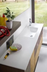 Lavabo integrato Cyber in Tekor, con vasca rettangolare, bianco opaco, senza troppopieno. L 211 (max) x P 38 x SP 1.3 cm