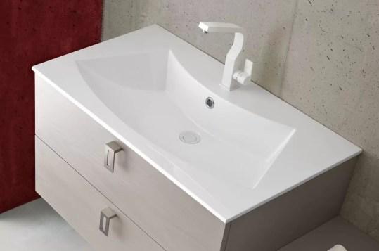 Lavabo Day in Mineralguss, bianco lucido, con troppopieno. L 71 x P 51 x A 16 cm