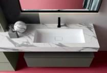 Piano con vasca integrata piccola Eden in solid-surface bianco, senza troppopieno. L 301 (max) x P 51 x SP 12.5 cm