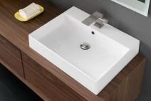 Lavabo Elegance in ceramica, bianco lucido, con troppopieno. L 51 x P 46.5 x A 15 cm