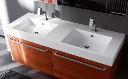 Lavabo integrato Kult in Tekor con vasca piccola, bianco opaco, con troppopieno. L 211 (max) x P 51 x SP 10 cm