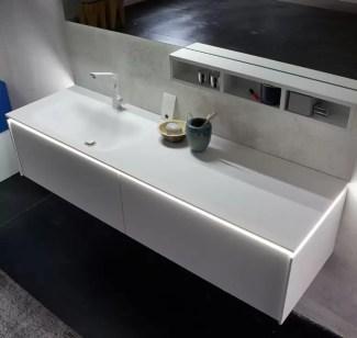 Lavabo integrato Optik con Corian, bianco opaco, senza troppopieno. L 301 (max) x P 51 x SP 1.3 cm