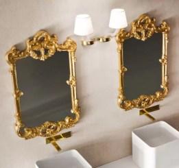 Specchiera Tender con cornice in finitura 240 oro e 260 argento. Senza presa ed interruttore L 60 x P 5.3 x A 100 cm