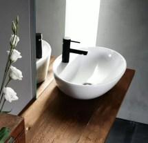 Lavabo Tiffany in ceramica, bianco lucido, senza troppopieno. L 60 x P 43 x A 17 cm
