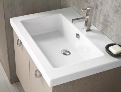 Lavabo Toy in ceramica, bianco lucido, con troppopieno, sp. bordo 5 cm. L 51.5 x P 51.5 x A 20 cm