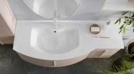 Lavabo Versus 95 in Mineralguss, bianco lucido, con troppopieno. L 96 x P 51/38 x A 16 cm