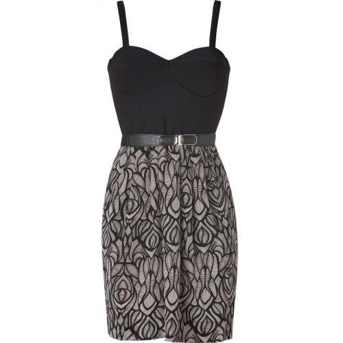 Akiko Black/Fawn Ponte/Silk Combo Bustier Dress