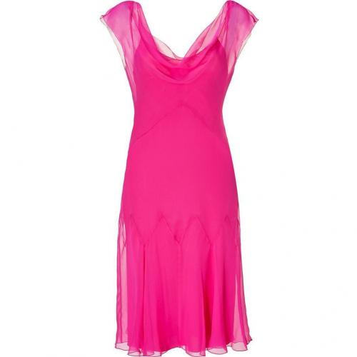 Alberta Ferretti Hot Pink Silk Godet Dress
