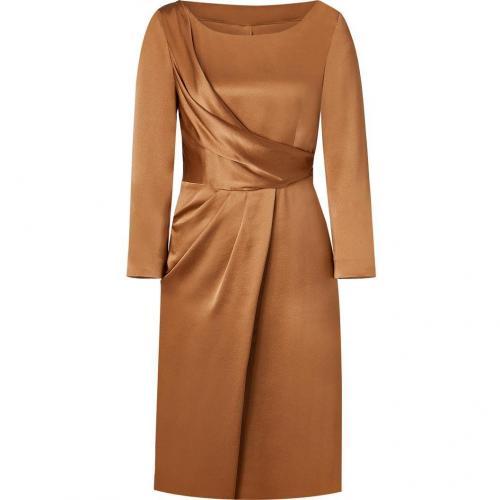 Alberta Ferretti Mustard 3/4 Sleeve Silk Dress