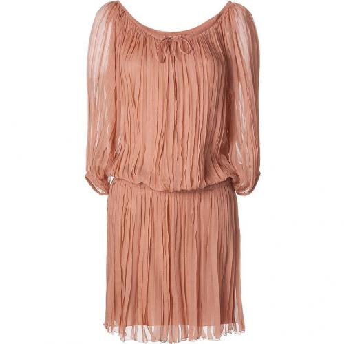 Alberta Ferretti Umber Pleated Silk Dress