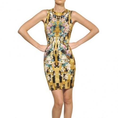 Alexander McQueen Viskose Jersey Kleid Mit Libellendruck