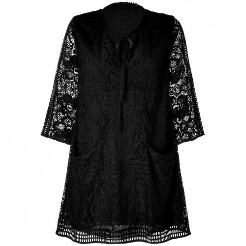 Anna Sui Black Crochet Lace Kleid