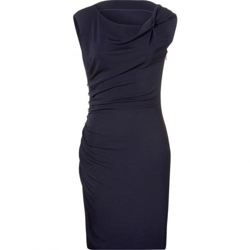 Azzaro Navy Blue Draped Dress with Crystals