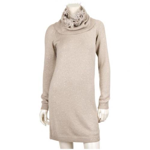 Brunello Cucinelli Paillettenbesetztes Cashmere/Seide-Kleid Beige