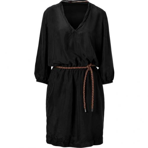 Burberry Brit Black Belted Silk Kleid