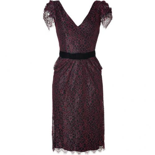 Collette Dinnigan Ruby/Black Pinot Lace Puff Sleeve Fitted Dress