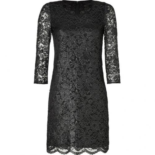 DKNY Black Metallic Floral Lace Kleid