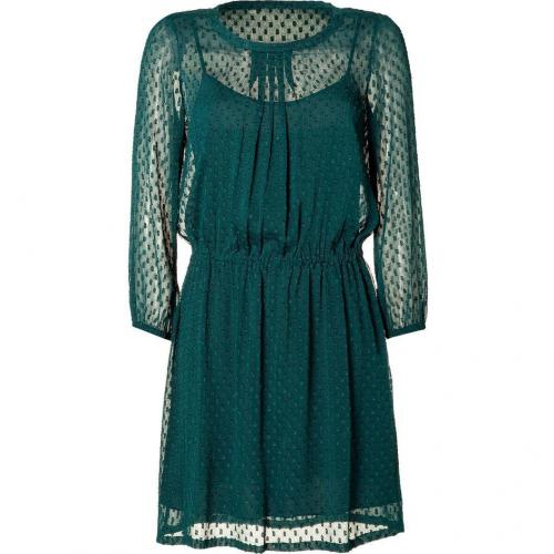DKNY Bottle Green Patterned Chiffon Kleid