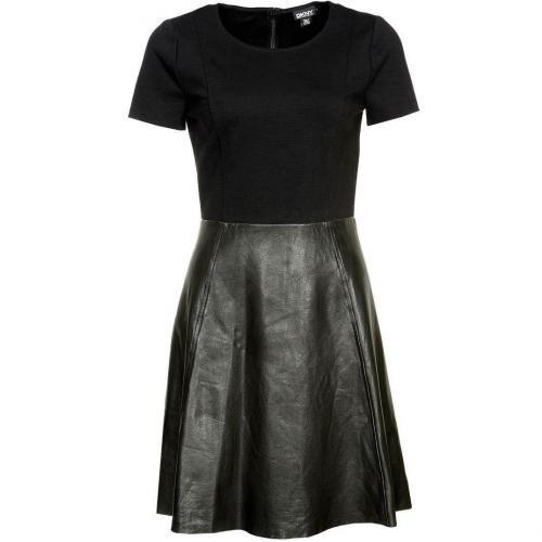 Dkny Cocktailkleid / festliches Kleid black mit Lederrock