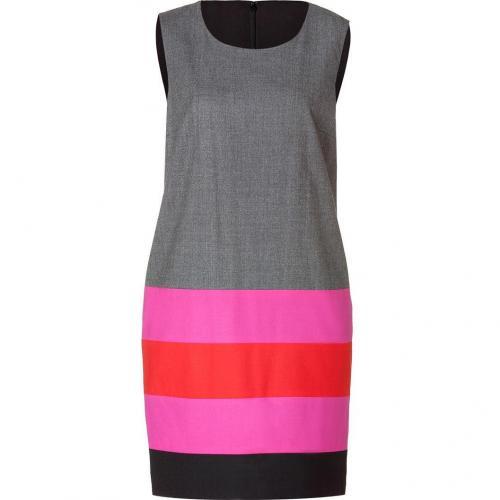 DKNY Flannel/Tomato/Fuchsia Stripe Wool Kleid