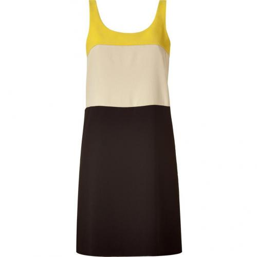 DKNY Yellow&White&Black Colorblock Sheath Kleid
