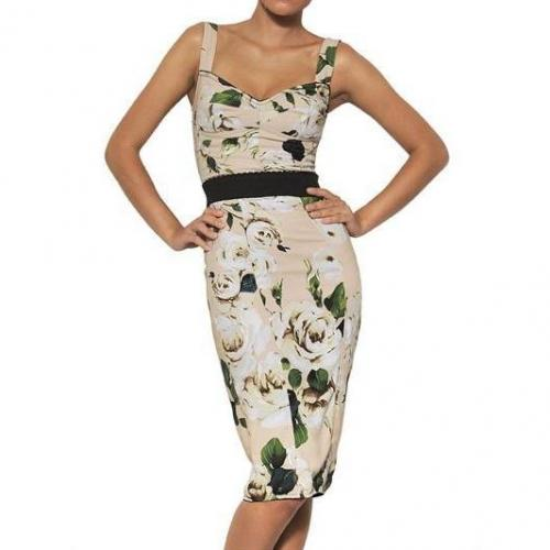 Dolce & Gabbana Viskosen Cady Gupure Kleid Mit Rosen Print