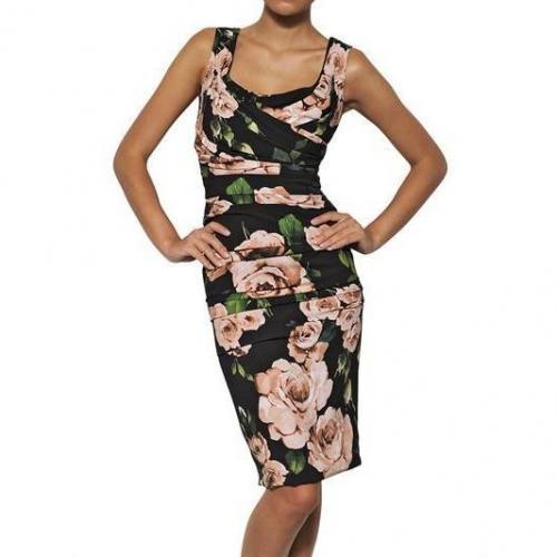 Dolce & Gabbana Viskosen Cady Kleid Mit Rosen Print