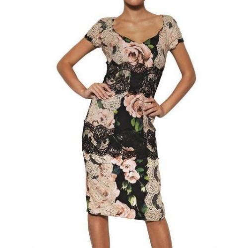 Dolce & Gabbana Viskosen Cady & Spitzen Kleid Mit Rosen Print