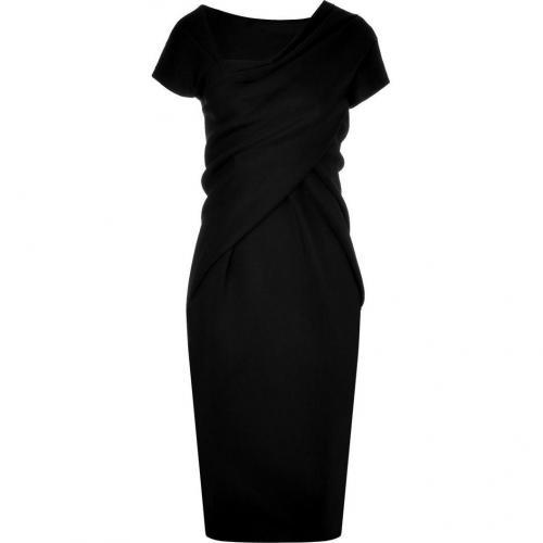 Donna Karan Black Asymmetrical Kleid with Cap Sleeves