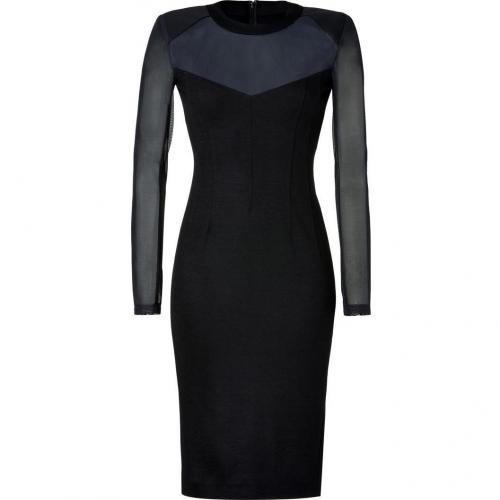 Donna Karan Black Mesh-Stretch Wool Kleid
