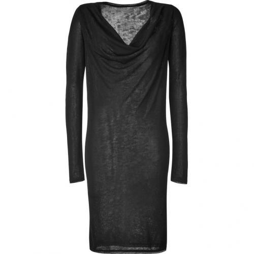 Donna Karan Black Reversible L/S Draped Neck Kleid