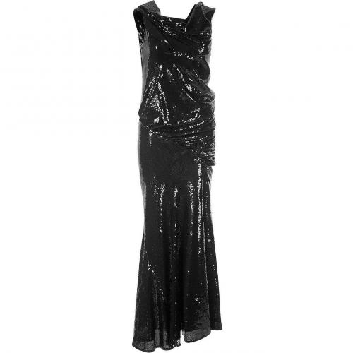 Donna Karan Black Stretch-Sequins Cap-Sleeve Gown